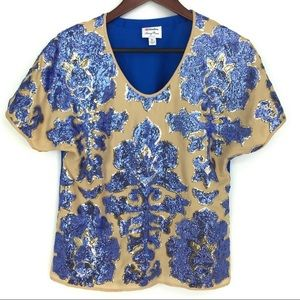 NEIMAN MARCUS TRACY REESE BLOUSE TOP SEQUIN BLING